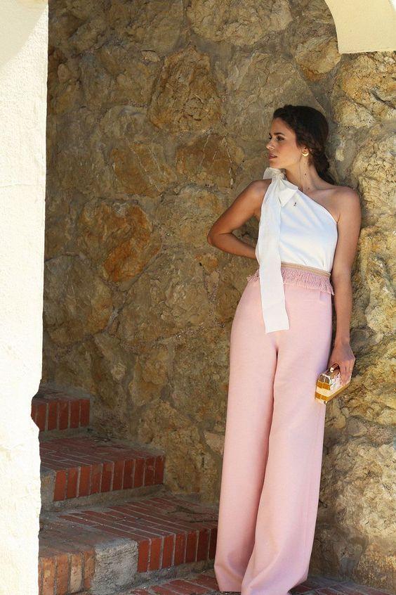 pantalon palazzo rosa palo con cinta de pasamaneria y pernera ancha para boda fiesta evento coctel bautizo comunion graduacion de primavera verano en apparentia