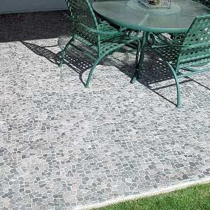 Stone grey mosaic tile mosaics outdoor patios and natural - Basics mosaic tiles patios ...
