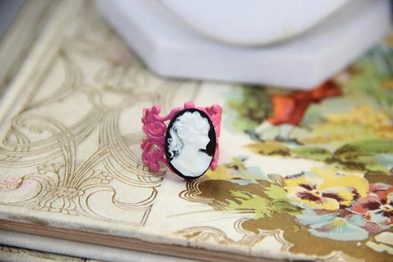 Pink of Goth Cameo Budget Geek Girl Ring by GirlyGeekChic on Etsy, $10.00