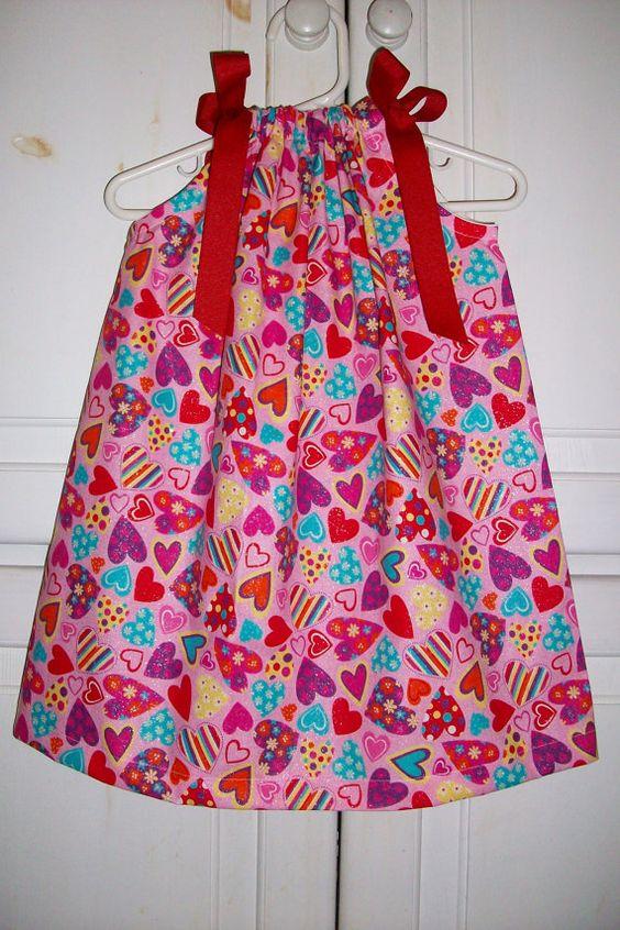 Valentines Pillowcase Dress HEARTS
