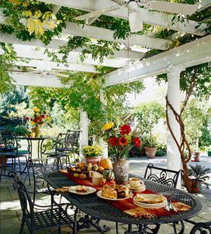 I'd love to have a pergola covering the side patio of our house to create an outdoor oasis for our parties!