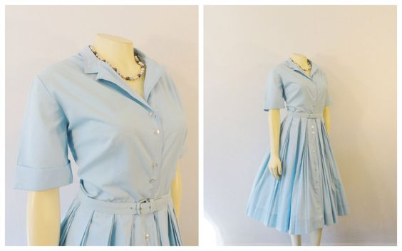 Vintage Dress 50s Georgia Griffin Fashions Sky Blue Shirtwaist Dress Triple Pleated Skirt Matching Belt Modern Medium by 2sweet4wordsVintage on Etsy https://www.etsy.com/listing/220625792/vintage-dress-50s-georgia-griffin