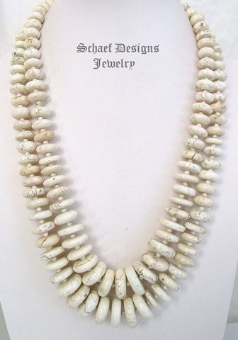 Schaef Designs White Buffalo Turquoise disk necklaces for layering | New Mexico | New Mexico