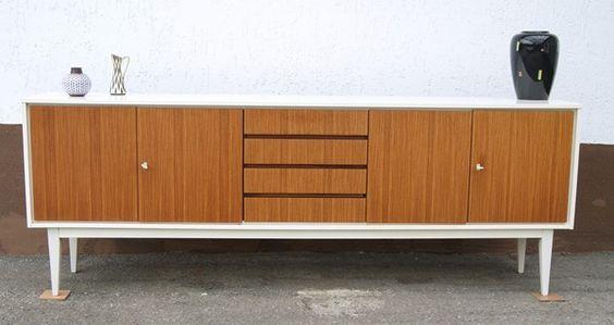 DESIGN SIDEBOARD WEISS NUSSBAUM 60ER 70ER 225 CM KUBISCHES DESIGN - badezimmer franz amp ouml sisch