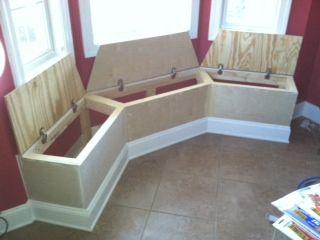 Seating with storage for bay window in kitchen   Window Design Ideas    Pinterest   Window, Storage and Kitchens