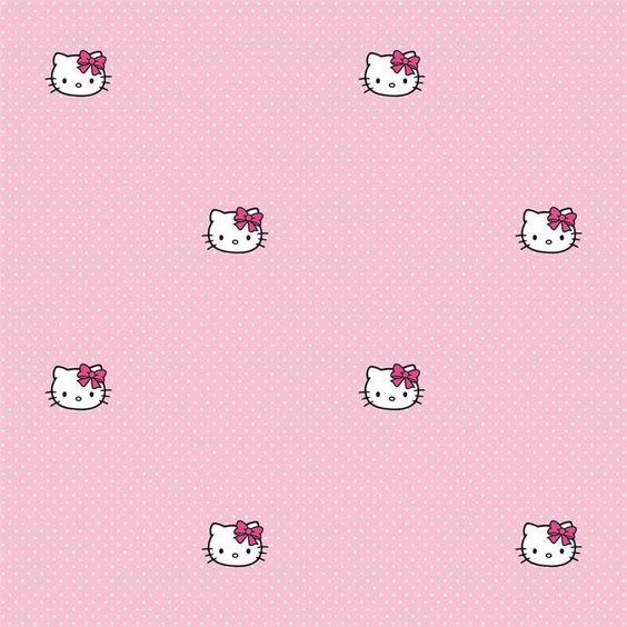 Pink / White Polka Dots - DF73399 - Hello Kitty - Polka Dots - Wallpaper #Decofun #Wallpaper