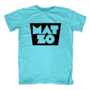 100% cotton, American Apparel turquoise or white T-shirt featuring the Mat Zo logo printed on the front.