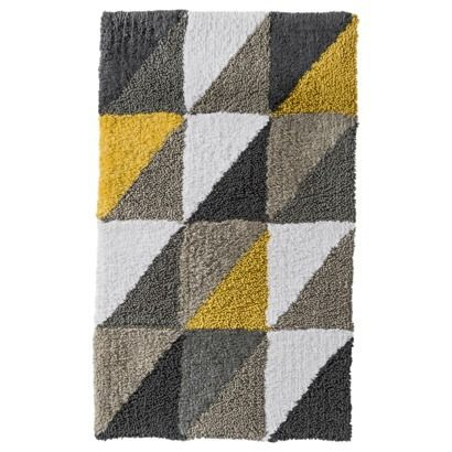 Room Essentials Triangle Bath Rug Yellow  20x34   wondering if a printed bath mat. Triangle Bath Rug Yellow  20x34    Room Essentials  Yellow Gray