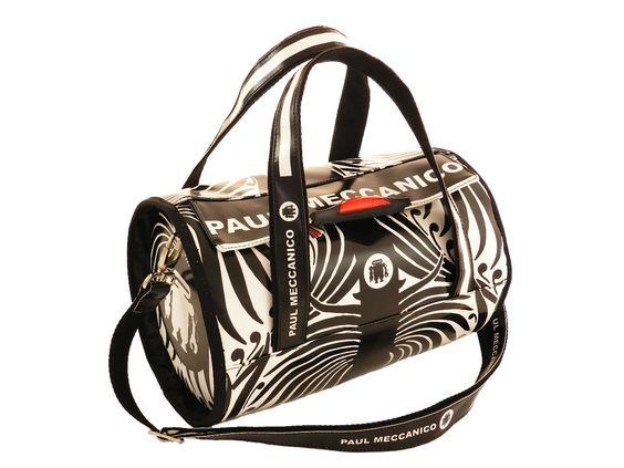 Optical black and white per questa borsa bauletto con tracolla Paul Meccanico.