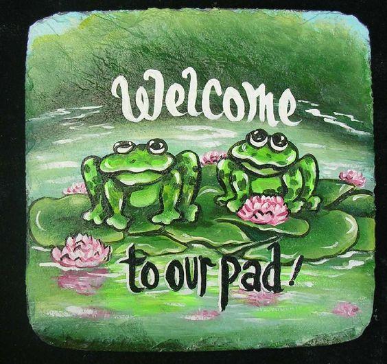 {Frog Welcome Sign} www.slatelady.com regina@slatelady.com
