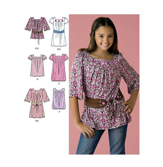 Dress or Tunic Top and Belt Sewing Pattern, Sleeveless, Long or Short Sleeves Girls Plus Size 8, 10, 12, 14, 16 Uncut Simplicity 2689