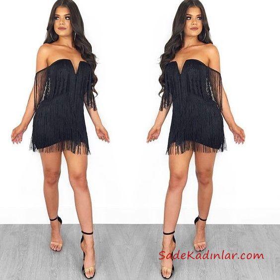 2019 Kisa Elbise Ve En Sik Gece Elbiseleri Siyah Kisa Straplez Yirtmacli Yaka Puskullu Elbise Moda Stilleri The Dress