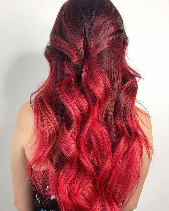 Dark Red To Bright Red Ombre Hair Redhaircolor Burgundyombrehair In 2020 Hair Color For Black Hair Hair Color Hair Color Auburn