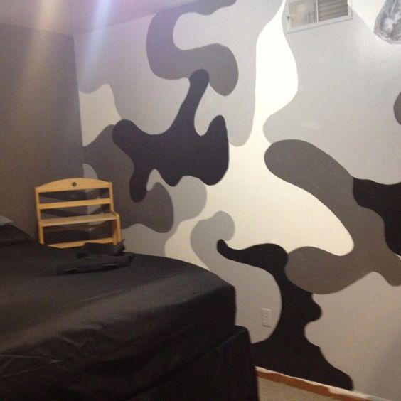 Camo Rooms Camo Boys Rooms And Camo Room Decor: Camo Wall SAM Painted For Logan's Room
