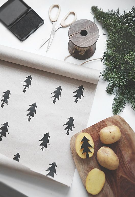 Potato stamped gift wrap.: