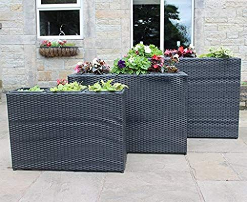 Schwarze Furniture Set Of 3 Large Rattan Planters Flower Pots Garden Furniture Accessories Black Or Brown B Planting Flowers Flower Pot Garden Flower Planters