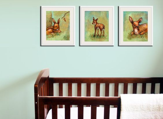 We love the touch of whimsy that these woodland art prints from @Jenny Dale Designs adds to a sweet nursery! #nursery #wallart #decor