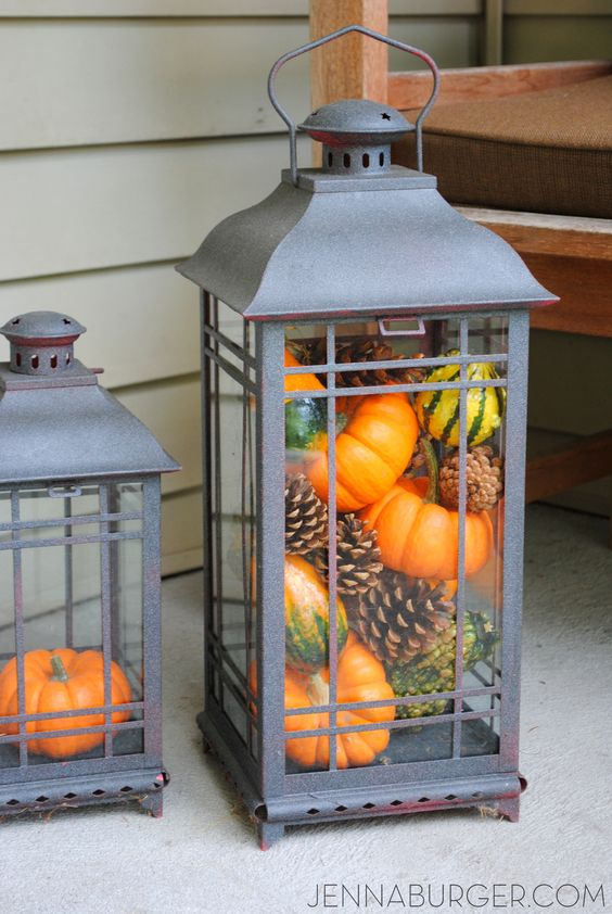 Pumpkin filled lantern. More Decorating ideas for the Home using Fall Favorites.: