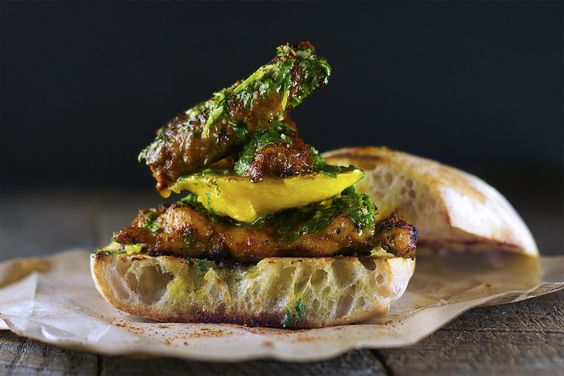 Mango Madness! Recipe: Mango & Smoked Chorizo Sandwich with Blackened Chicken and Chimichurri