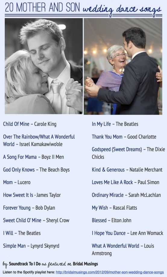 20 Awesome Mother/Son Wedding Dance Songs – Have you got any more to add to the list?