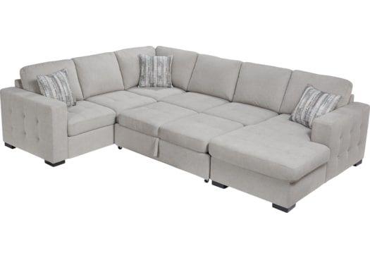 Angelino Heights Gray 3 Pc Sleeper Sectional | Sleeper sectional