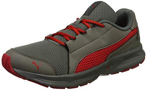 Puma Men S Castor Gray Flame Scarlet Running Shoes 9 Uk India 43