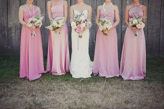 Mismatched bridesmaid dresses Look #2: Same color but different style dresses