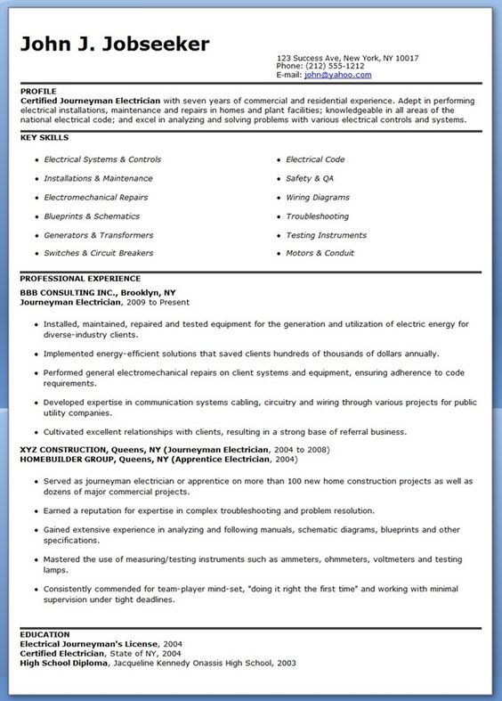 Journeyman Electrician Resume Samples | Creative Resume Design