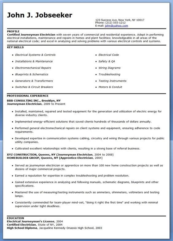 Journeyman Electrician Resume Samples   Creative Resume Design