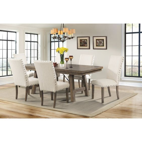 Picket House DJX100S7PC Dex 7 Piece Dining Set in Distressed Smokey Walnut & Cream Linen w/ Nailhead Trim