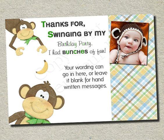 Monkey Thank You Card - Monkey Birthday Theme - DIY