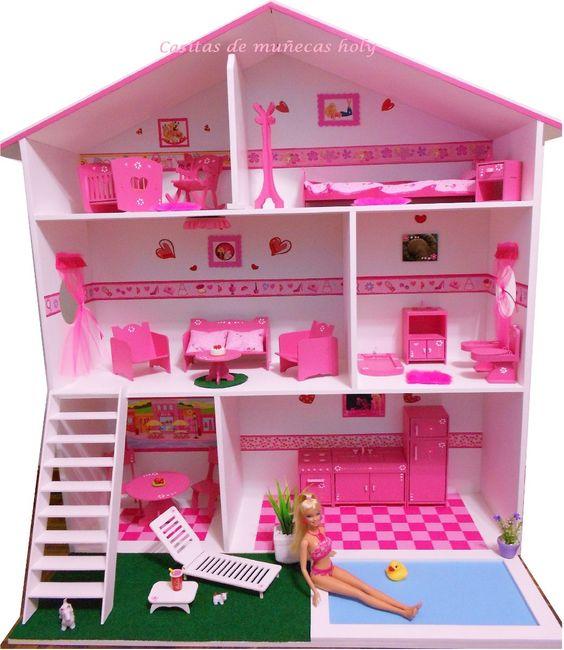 Casita de mu ecas muebles y ba o puf mu eca luz y comidas for Casa de juguetes para jardin