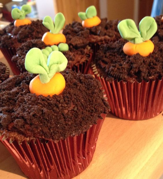 Carrots in chocolate cupcakes