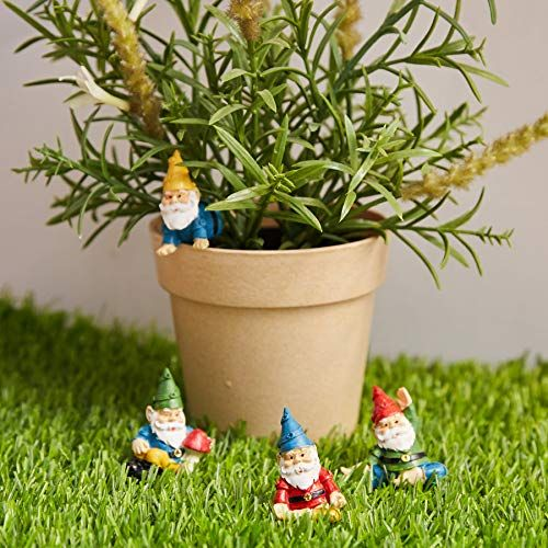4-Piece Mini Yoga Gnome Figurines Juvale Miniature Gnome Set Housewarming Gift Decorative Accessories for Fairy Garden Potted Plants Decor Tabletop Decoration Home 4 Small Assorted Characters