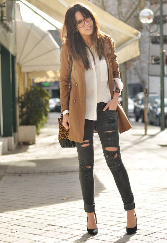 Trench + Ripped jeans