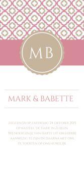 Klassieke trouwkaart 10x21 cm Patroon in roze en taupe
