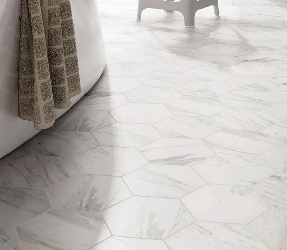 Hexagon Tile Carrara imitation Spanish Porcelain floor tiles.  From Kalafrana Ceramics Sydney.