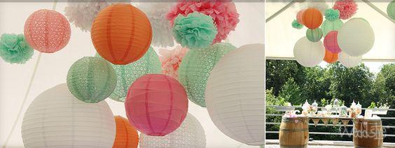 PompPoms und Paper Fans für Hochzeit mieten | weddstyle