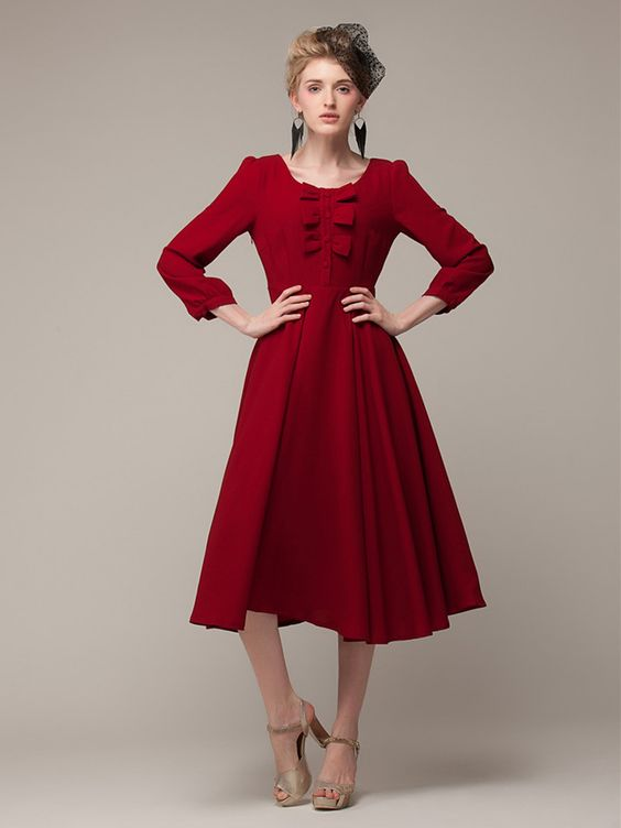 Cute Holiday Dress! Red Long Sleeve Chiffon Midi Dress With ...