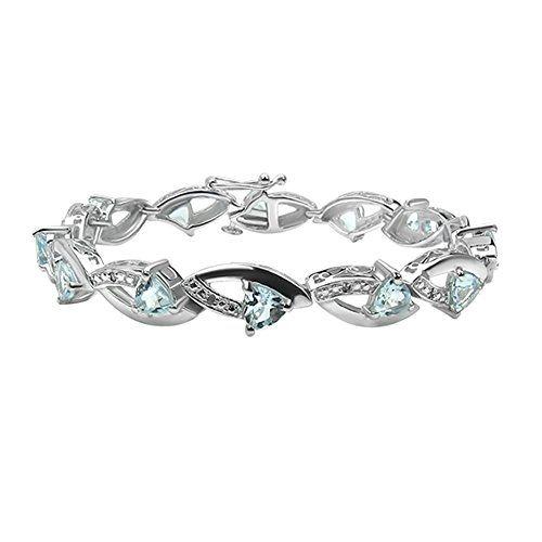 "SilvancΓ© - Women's Bracelet 7.5"" - 925 Sterling Silver - Genuine Aquamarine…"