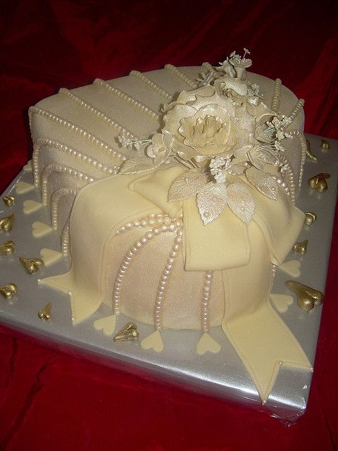 Shimmer Ivory Pearls Small Heart Cake - could be the top of a multi layer cake.