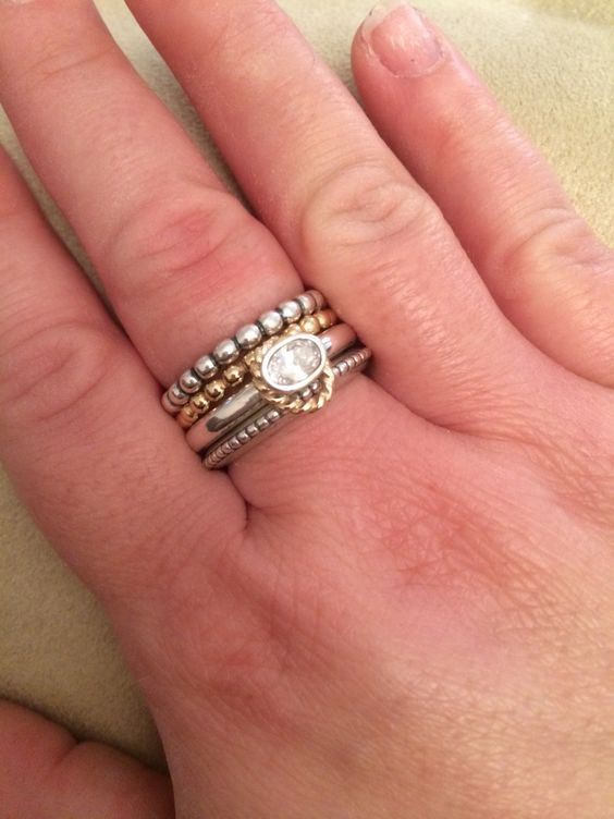 Pandora stacking rings love the mix of gold and silver for Mixture of gold and silver