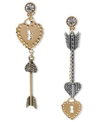 Betsey Johnson Earrings, Gold Tone Heart Lock and Arrow Mismatch Linear Earrings - Fashion Jewelry - Jewelry & Watches - Macy's