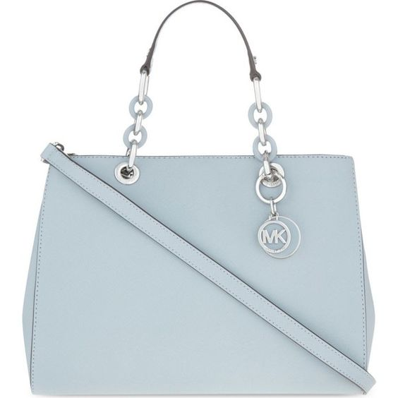 MICHAEL MICHAEL KORS Cynthia medium Saffiano leather satchel ($455) ❤ liked on Polyvore featuring bags, handbags, cement, zip bag, zipper handbag, zip zip satchel, saffiano leather satchel and zip purse