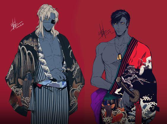 和服の2人