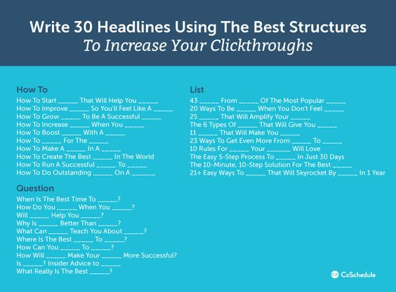 Writing headlines that use the best structure to increase click-thorough rates, from CoSchedule.com