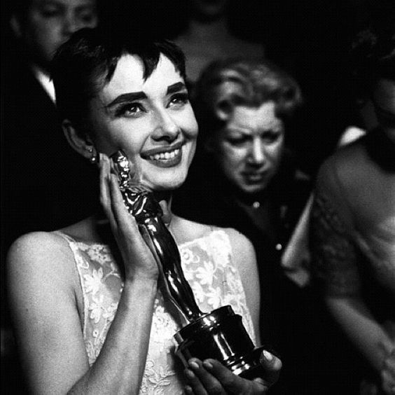 Audrey winning The Oscar for her role in Roman Holiday which is one of my most fav movies