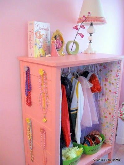 Little girl's dress up center made from old dresser.