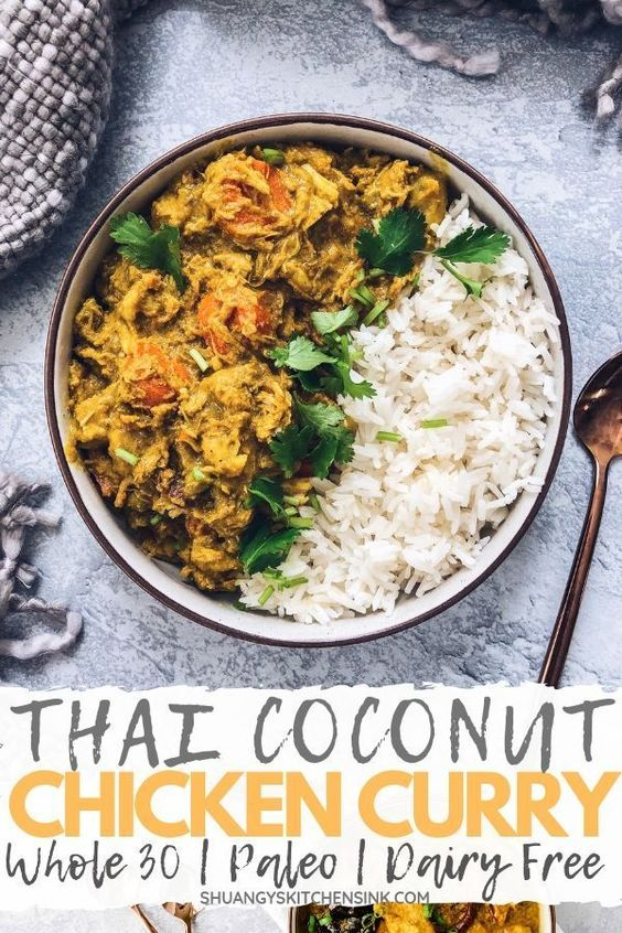 Crockpot Thai Curry Chicken (Whole 30)