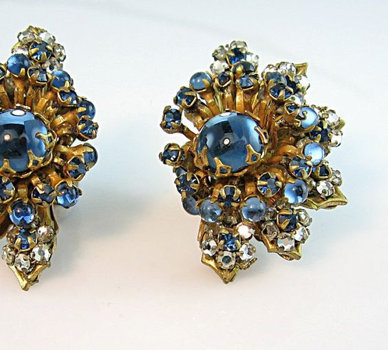 Miriam Haskell Luminous Blue Cabochons Earrings by bohemiantrading, $125.00